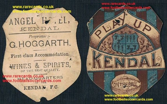 1880s Angel Hotel Kendal F.C. on the ball Richardson early football card